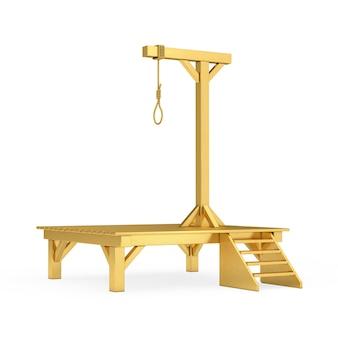 Forca dourada com nó amarrado com corda de laço pendurado em um fundo branco. renderização 3d
