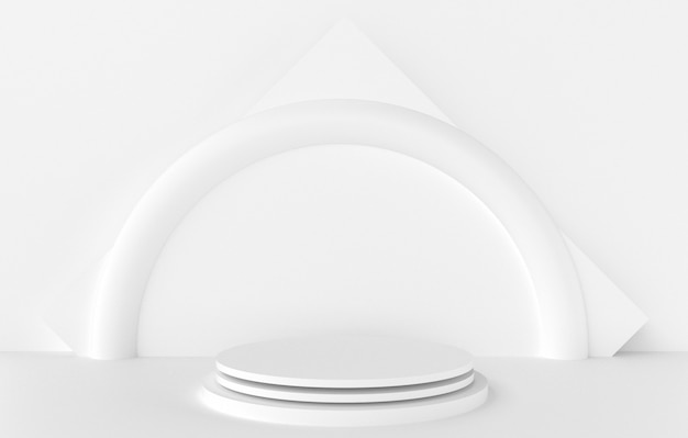 Forma 3d abstrata e geometria, fundo de estágio branco da cor.