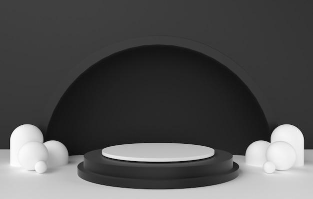 Forma 3d abstrata e geometria, fundo de estágio preto e branco da cor.