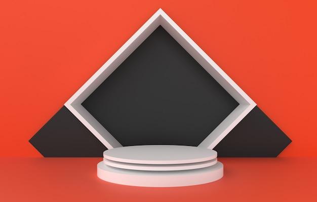 Forma 3d abstrata e geometria, fundo de estágio preto e laranja branco da cor.
