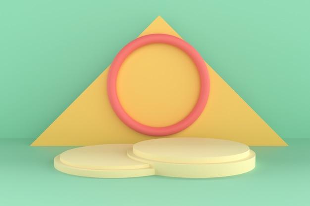 Forma 3d abstrata e geometria, fundo de palco de cor de praia.