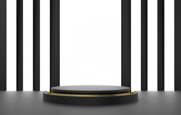 Forma 3d abstrata e geometria, preto e fundo de estágio de cor de ouro.