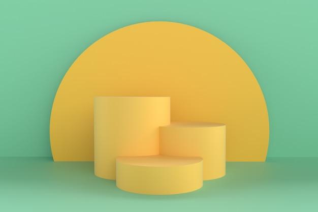 Forma abstrata 3d e geometria, palco de cores de praia