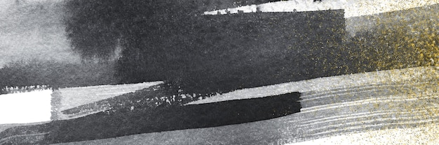 Forma abstrata de aquarela preta moderna com fundo de textura de grão de ruído de glitter dourado para design, estilo de capa de banner