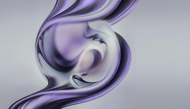 Forma abstrata de cromo d em fundo claro