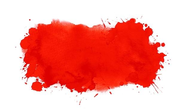 Forma artística em aquarela vermelha com mancha de aquarela, gotas e respingos de tinta