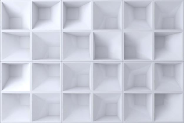 Forma branca do quadrado da parede 3d para o fundo.