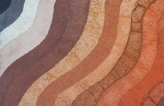 Forma das camadas do solo, sua cor e texturas, camadas de textura da terra