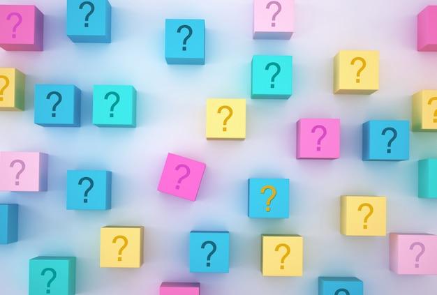 Forma de bloco de cubo colorido com sinal de interrogação