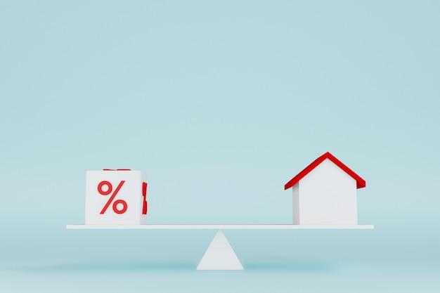 Forma de bloco de cubo e casa com porcentagem do ícone em balanças de balanço de gangorra renderização em 3d