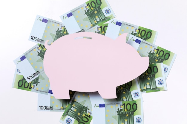 Forma de cofrinho rodeado de euros