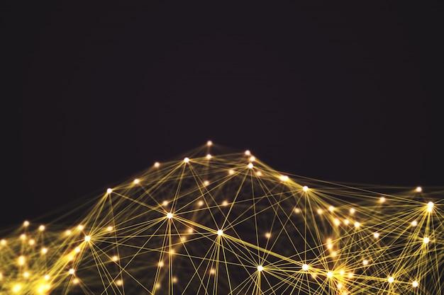 Forma de conexão tecnologia futurista amarelo.