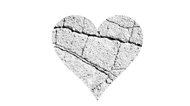 Forma de coração com textura preta e branca isolada no fundo branco