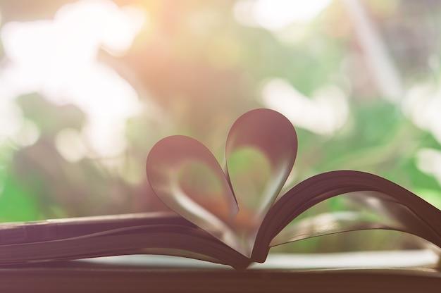 Forma de coração de fundo de natureza de páginas de livro, amor e conceito de dia dos namorados
