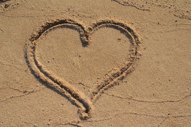 Forma de coração desenhada na areia da praia