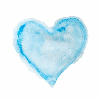 Forma de coração em aquarela azul