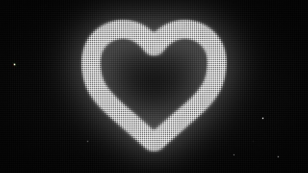 Forma de coração na tela digital. diferentes cores e formas no meu perfil.