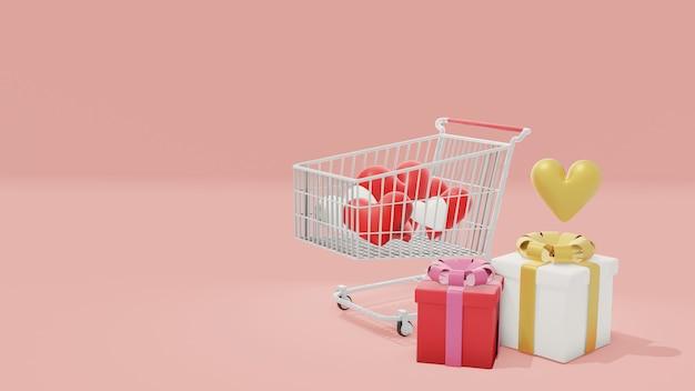 Forma de coração no carrinho de compras e caixas de presente bonito ao lado, renderização em 3d para o dia dos namorados. ilustração 3d, conceito de compras do dia dos namorados.