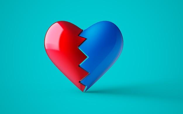 Forma de coração partido vermelho e azul em 3d, em fundo personalizável, renderização em 3d