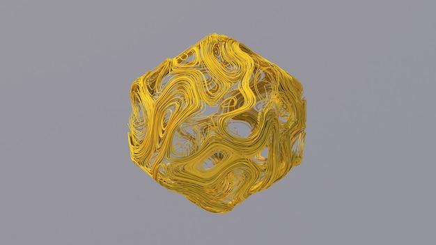 Forma de fio amarelo. ilustração abstrata, renderização 3d.