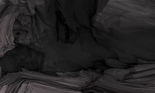 Forma de fundo abstrato do cg fractal. parede de granito preto e cinza. renderização 3d.
