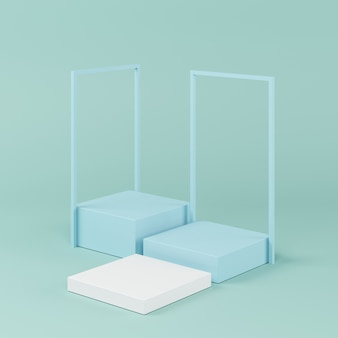 Forma de geometria abstrata cor azul, pódio mínimo para o produto, renderização em 3d