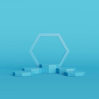 Forma de geometria abstrata cor azul sobre fundo azul, pódio mínimo para o produto, renderização em 3d
