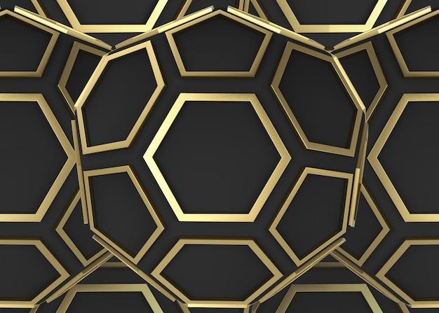Forma de hexágono e pentágono dourados no fundo da parede escura