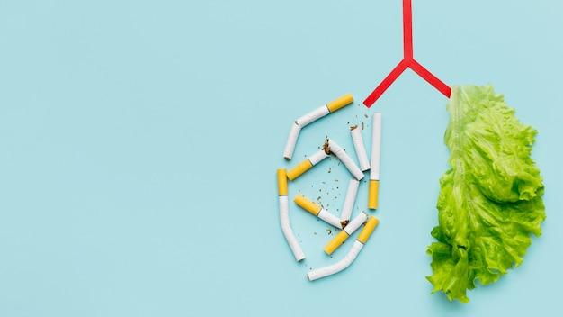 Forma de pulmões com salada e cigarros e cópia-espaço