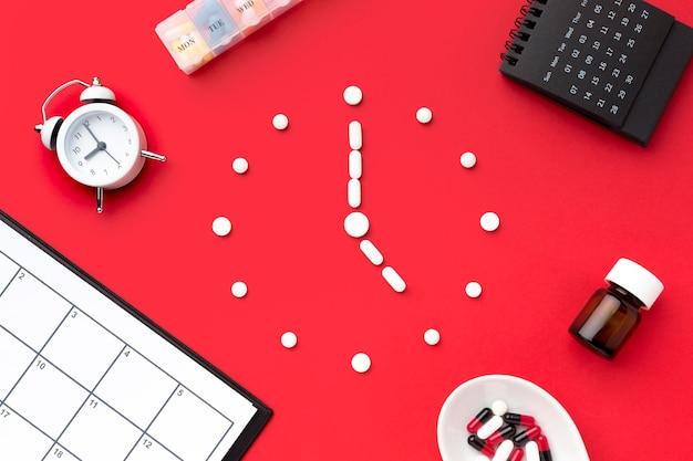 Forma de relógio vista superior de pílulas