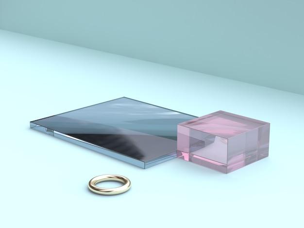 Forma de vidro azul rosa abstrata e renderização em 3d ouro