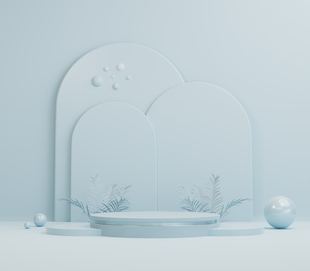 Forma geométrica abstrata, cena de cor pastel azul mínima para apresentação de produtos cosméticos
