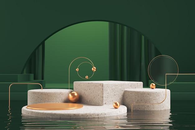 Forma geométrica abstrata cena de cor verde mínima, design para cosmético ou pódio de exibição de produto renderização em 3d.