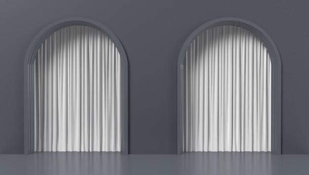 Forma geométrica abstrata com elementos arquitetônicos e cortinas
