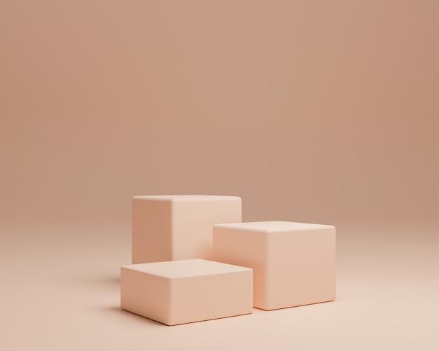 Forma geométrica abstrata com estilo minimalista e cor pastel. use para apresentações de cosméticos ou produtos. renderização 3d e ilustração