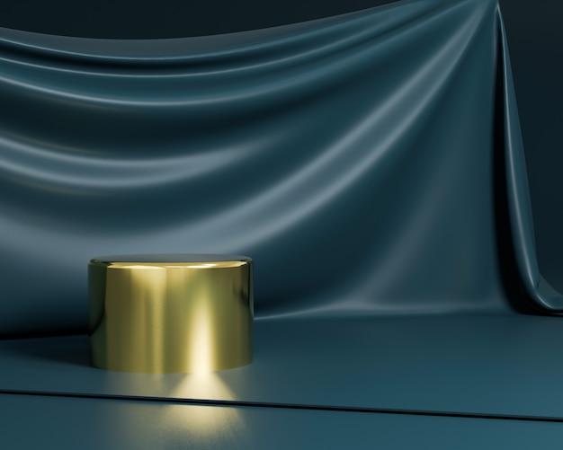 Forma geométrica abstrata com estilo minimalista na cor azul escuro. use para apresentações de cosméticos ou produtos. renderização 3d e ilustração