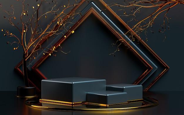 Forma geométrica abstrata com folhas de ouro renderização em 3d palco de pódio para apresentação do produto