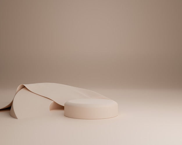 Forma geométrica abstrata com pano realista. use para apresentações de cosméticos ou produtos. renderização 3d e ilustração