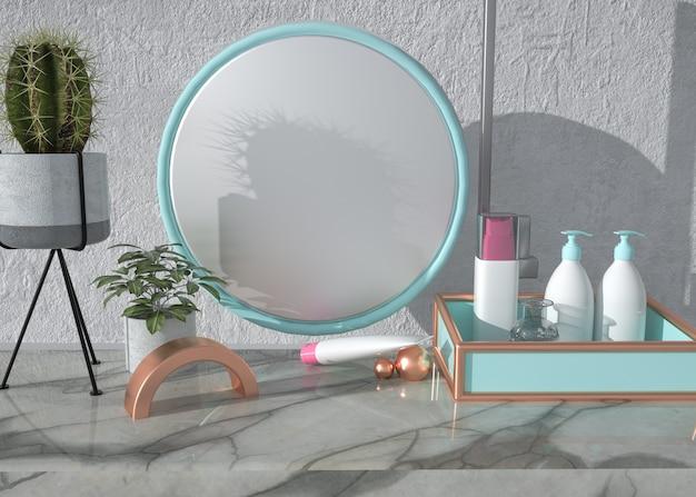 Forma geométrica abstrata com produto cosmético
