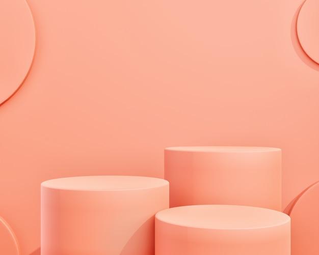 Forma geométrica abstrata de cor rosa para exibição de produtos
