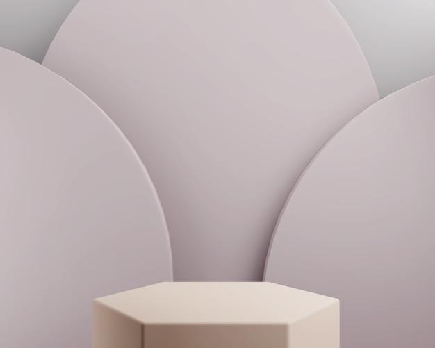 Forma geométrica abstrata de cor roxa para exibição de produto