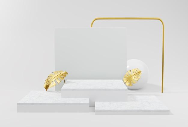 Forma geométrica abstrata de pódio em fundo branco para apresentação do produto