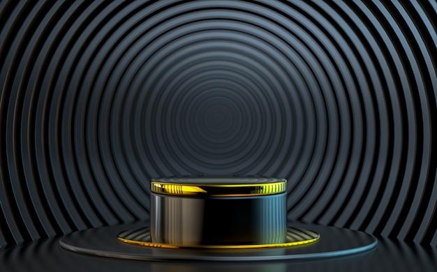 Forma geométrica abstrata escura com renderização em 3d do palco do pódio dourado para apresentação do produto