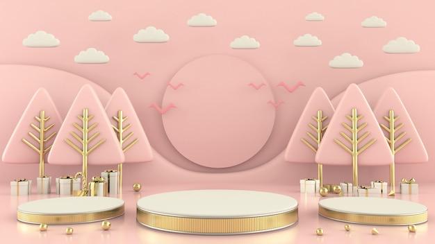 Forma geométrica árvore de natal cena conceito decoração renderização em 3d