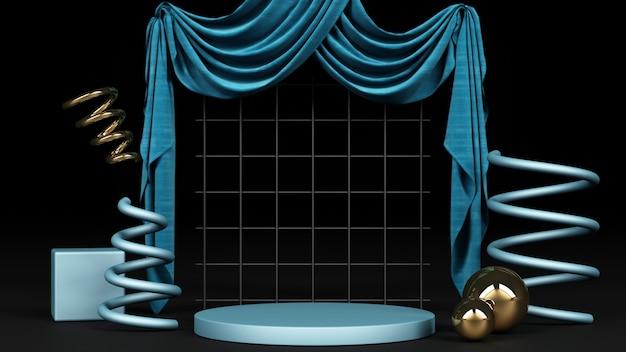 Forma geométrica azul com material azul e dourado e renderização de fundo de tecido azul
