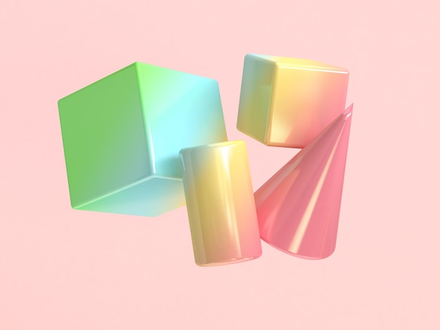 Forma geométrica colorida flutuando fundo branco renderização em 3d
