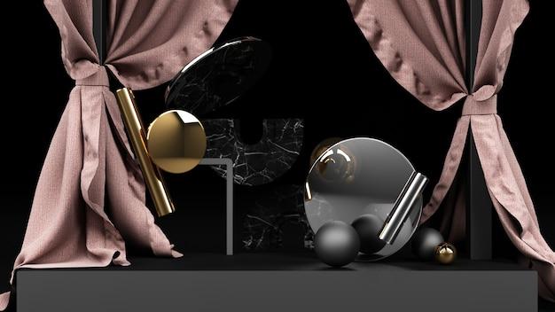 Forma geométrica cor preta com mármore preto e dourado e vidro transparente