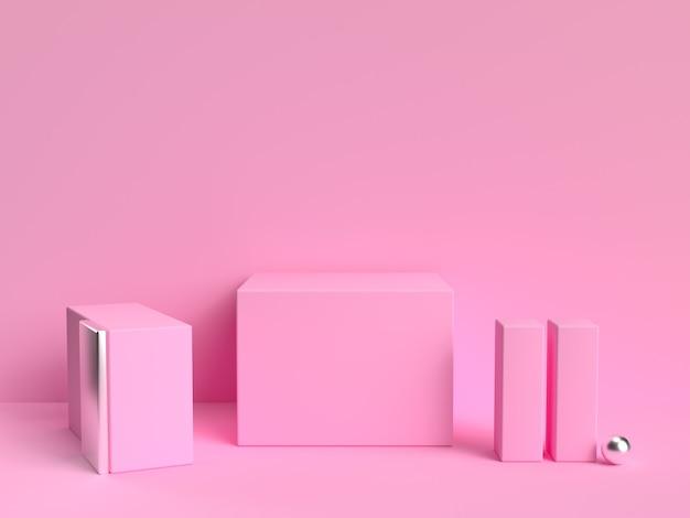 Forma geométrica de cena pastel rosa mínima
