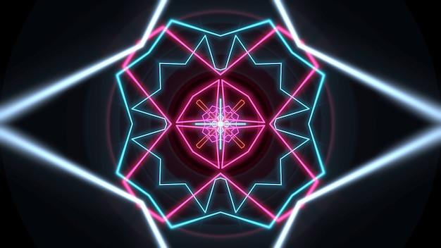 Forma geométrica de néon colorido no espaço, fundo abstrato. ilustração 3d de estilo clube dinâmico elegante e luxuoso