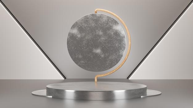Forma geométrica de pódio em fundo preto para apresentação de produtos ou vitrine